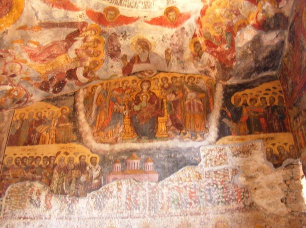 Impressive frescoes inside the Sumela Monastery