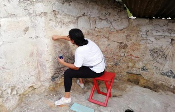 A series of frescoes have been uncovered in the newly excavated church. (Image: Divulgação/Museu Regional de História)