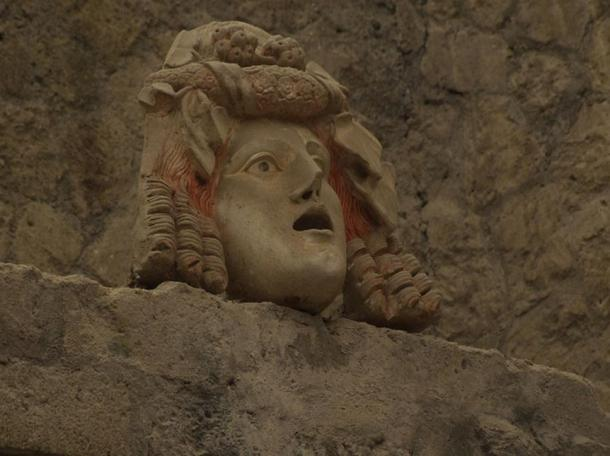A frightening visage haunts the ancient Roman town of Herculaneum, destroyed by Vesuvius in 79 AD.