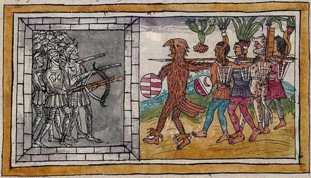 An illustration from Historia de las Indias de Nueva España e islas de la tierra firme (1579) by Diego Durán showing Aztecs and Spanish conquistadors fighting.