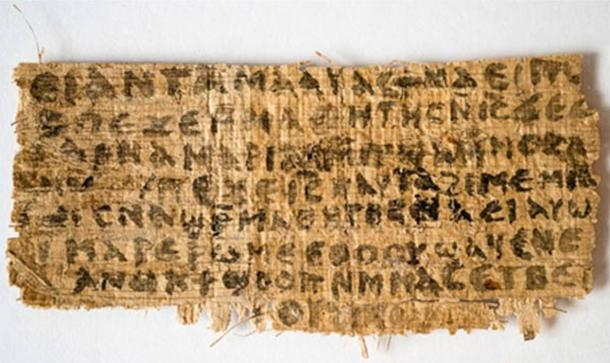 The front of a papyrus fragment from an early Christian codex on which is written the Gospel of Jesus's Wife.