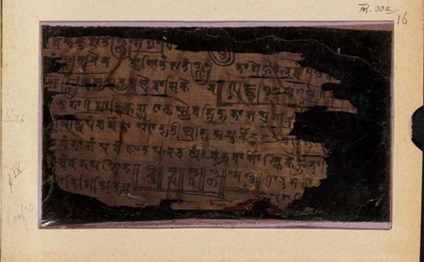 The 'front' page of folio 16, part of the Bakhshali manuscript that dates back to 224-383 AD.