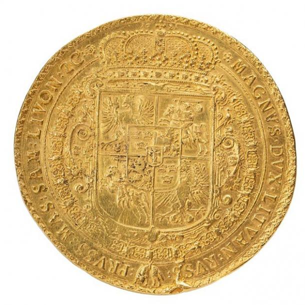 The front side of the 1621 gold Polish coin. (DESA Unicum)