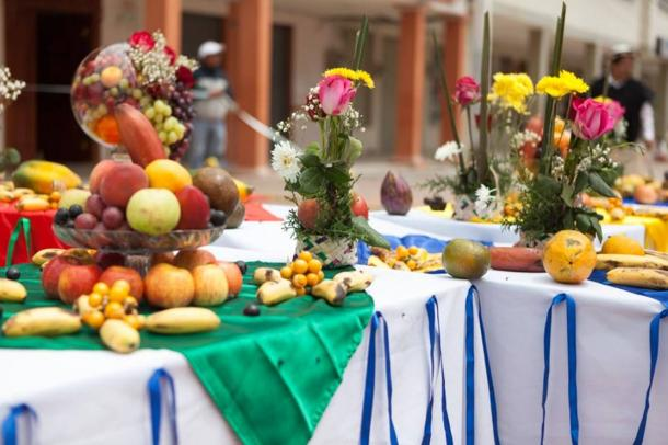 A fruit offering was laid out in the central square for the main ceremony in which Pachamama was thanked for the first fruits of the year.