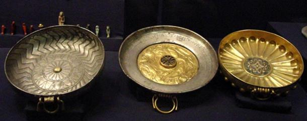 General Wendebauendjed's funerary cups from the tomb of king Psusennes I at Tanis.