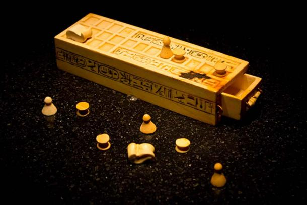 A game box and pieces for playing the game of Senet found within the intact KV62 tomb of King Tutankhamun.