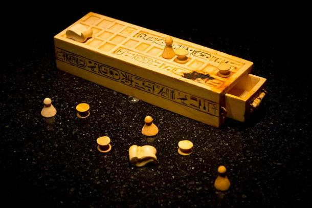 A game box and pieces for playing the game of Senet found within the tomb of king Tutankhamun.