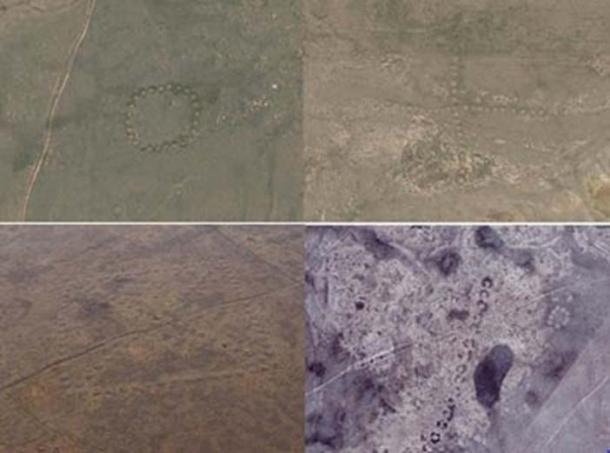 Some of the geoglyphs found in northern Kazakhstan. Credit: Image copyright DigitalGlobe, courtesy Google Earth