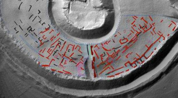 A geophysical 'x-ray' image showing the structures which have lain buried in the ground for more than 700 years - Old Sarum