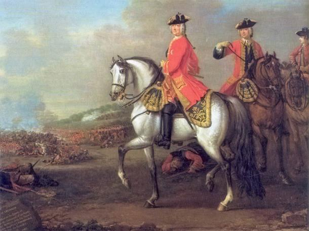 George II envisioned at the Battle of Dettingen in 1743 by John Wootton (Public Domain)