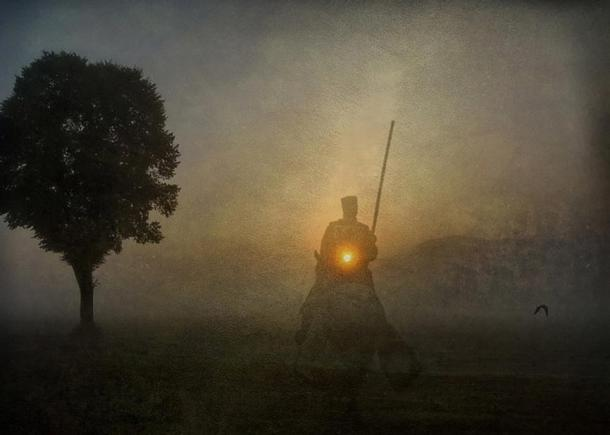 A ghostly mounted knight.
