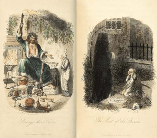 The ghosts of Christmas's Present and Yet to Come, A Christmas Carol, 1843.
