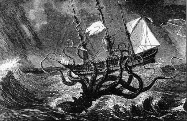 Imaginary view of a gigantic octopus seizing a ship
