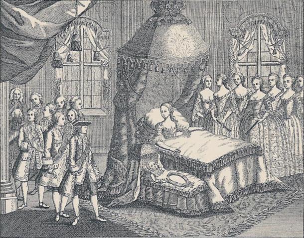 Engraving of Caroline Matilda giving birth.