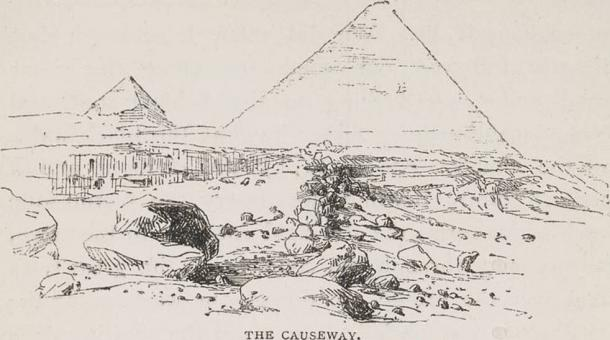 Drawing of the remnants of a causeway leading to the Great Pyramid