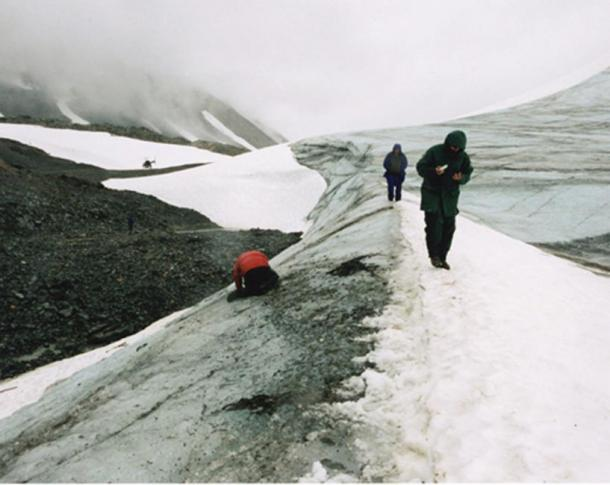 View of the glacial edge high in the Tatsenshini where Kwäday Dän Ts'ìnchi was found in 1999.