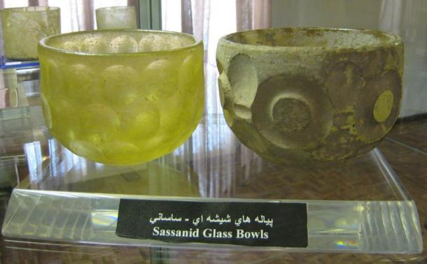 Two examples of glass bowls from the Sasanian Empire.