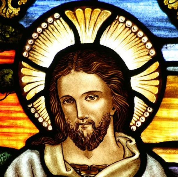 Stained glass depiction of Jesus at St John the Baptist's Anglican Church.