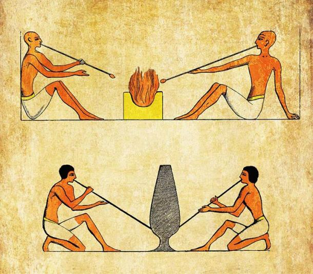 Ancient Egyptian glassblowers. (acrogame/Adobe Stock)