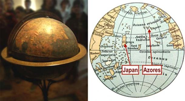 Martin Behaim's globe (CC BY-SA 2.0 de) intentionally placed the Azores islands, where Behaim lived and was married, on top of the Americas. This made Asia appear much closer to Europe than it really is, thus supporting the project that Columbus was advocating for. Map of  Atlantic Ocean (Public Domain/Deriv)