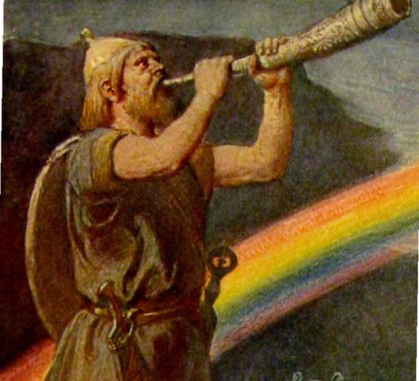 The god Heimdallr stands before the rainbow bridge while blowing a horn.