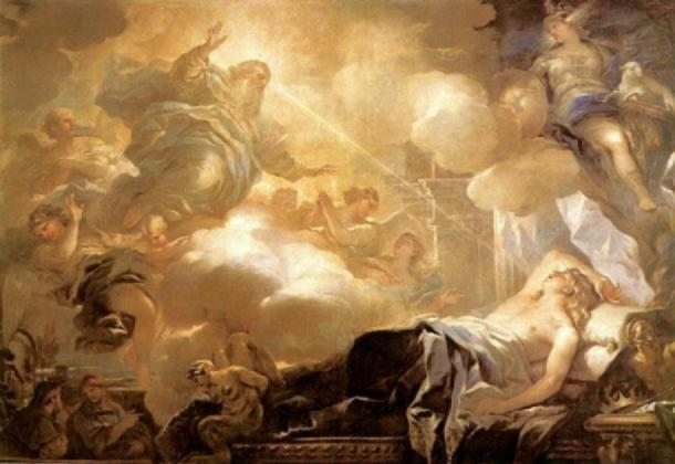 God promises Solomon wisdom in a dream. (Public Domain)