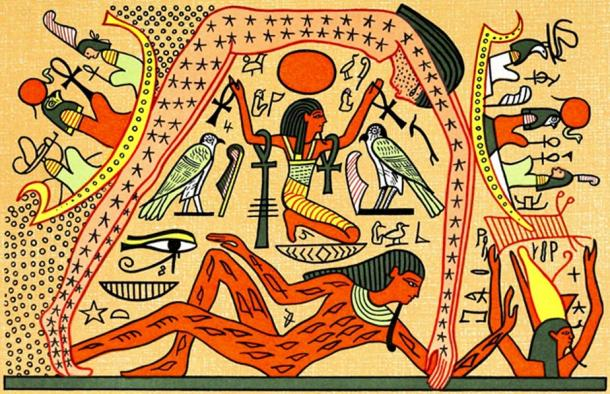 Fig 2. The goddess Nut arches her body across the night sky, with her partner Geb (the Earth) prostrate below her. Note the solar barque of Ra-Horus sailing across the body of Nut, because the cosmos was seen to be a celestial sea.