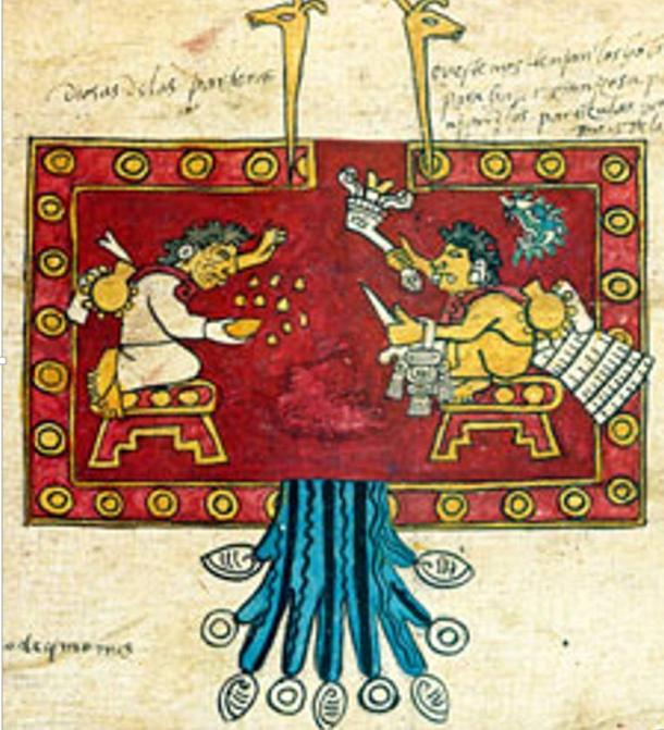 The gods Oxomoco and Cipactonal throw lots with grains of corn, Codex Borbonicus