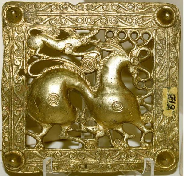 A gold Scythian belt buckle, Azerbaijan, 7th century BC.