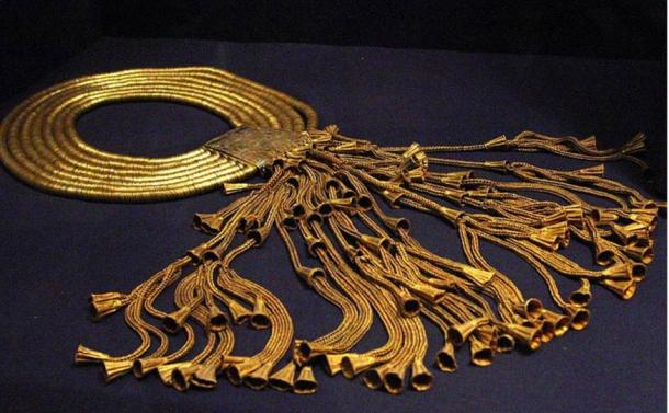 A gold and lapis lazuli collar of king Psusennes I originally found in his tomb at Tanis.