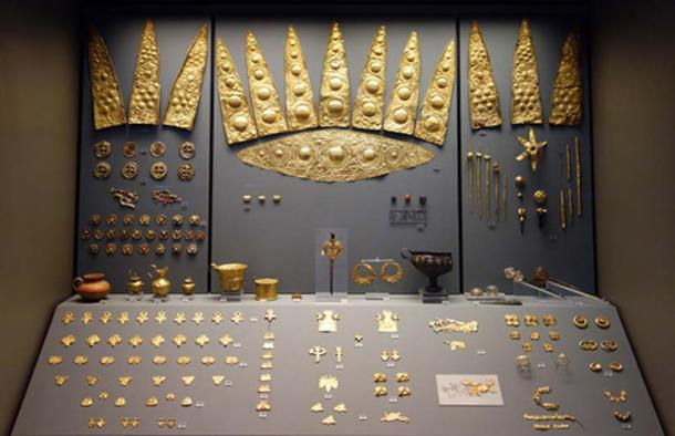 Gold artifacts from Grave Circle A at Mycenae, Greece