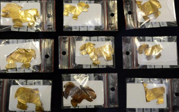Some of the gold artifacts recovered from the underwater temple in Lake Titicaca