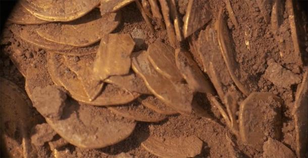 Part of the substantial gold coin hoard still in the ground. (Israel Antiquities Authority)
