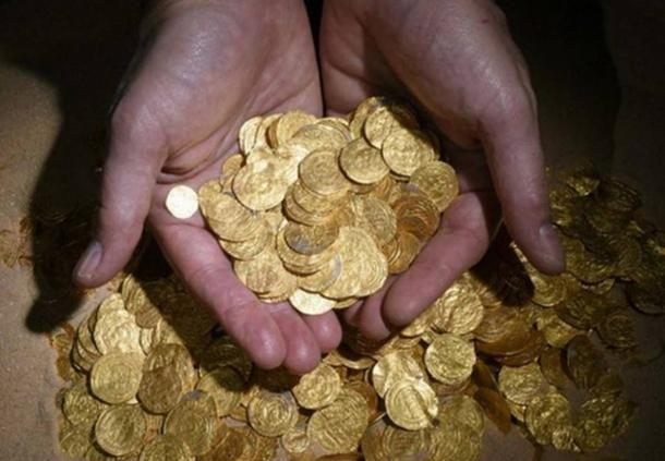 Gold coins found at ancient port in Caesarea.