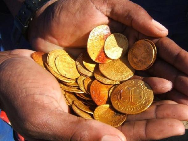 Gold coins were discovered among the treasure.