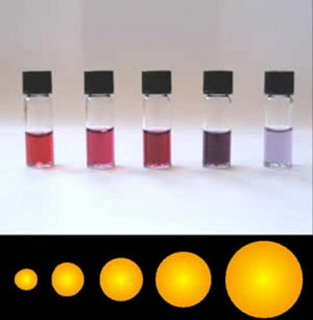 A solution containing different quantities of gold nanoparticles.