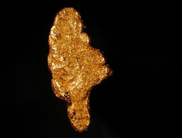 A gold nugget from Kildonan Burn, Helmsdale, Sutherland, Scotland.