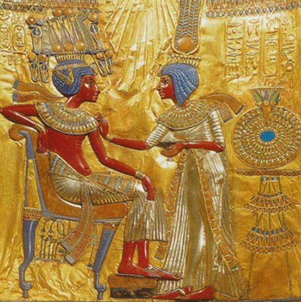 A gold plate found in Tutankhamun's tomb depicting Tutankhamun and Ankhesenamen together.