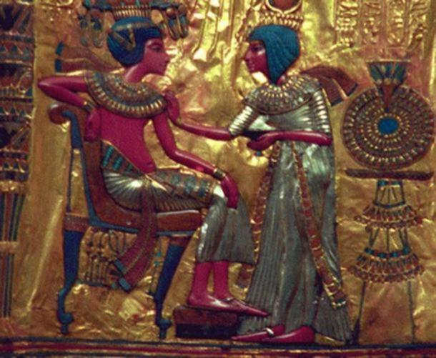 Detail; gold plate depicting Pharaoh Tutankhamun and consort, Ankhesenamun.