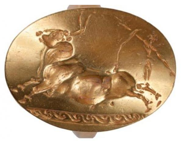 One of the four gold rings found in the tomb of the Griffin Warrior depicts a leaping bull.