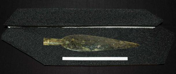 The gold spearhead found in the Bronze Age hoard.