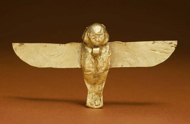 This golden Ba amulet from the Ptolemaic period would have been worn as an apotropaic device to ward off evil or bring good luck.