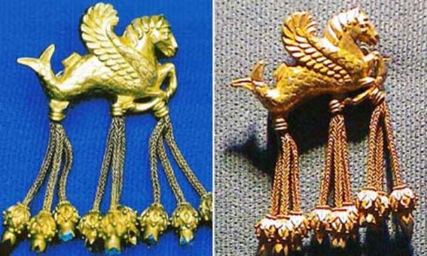 The original on the left, and the fake golden brooch in the shape of a winged hippocampus from the Lydian Hoard in Turkey.