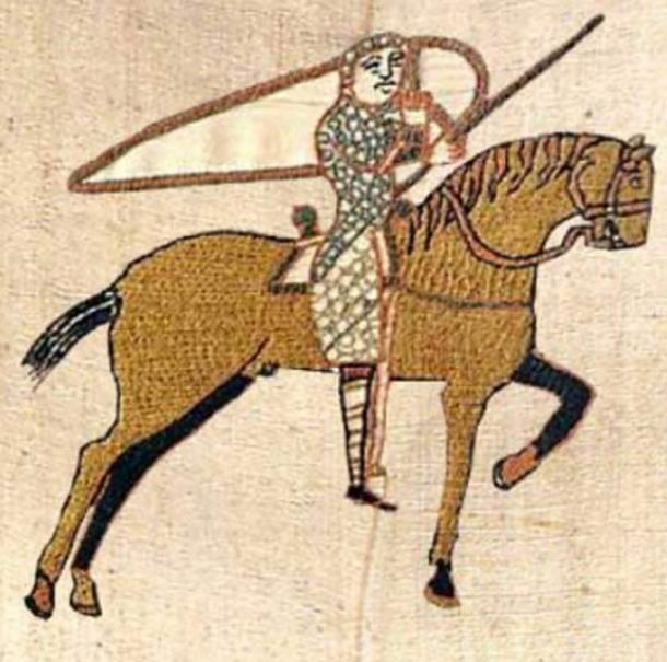 A golden-colored horse seen in the Bayeux tapestry