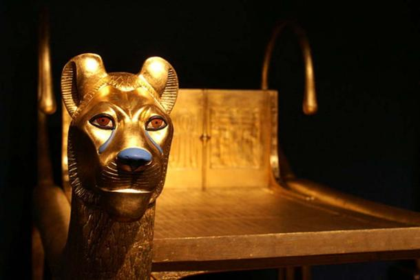 Detail of golden lions on a ritual bed found in the tomb.
