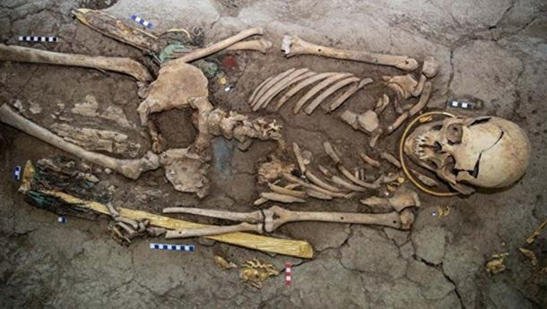 The 'golden man' found in the Saka burial mound. (akimat of the East Kazakhstan region)