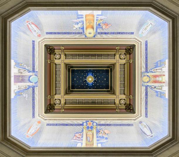 The Grand Temple Ceiling from the Freemason's Hall in the United Grand Lodge of England, located in London. Notice the cosmic symbolism present throughout the artwork. (Colin / Wikimedia Commons)