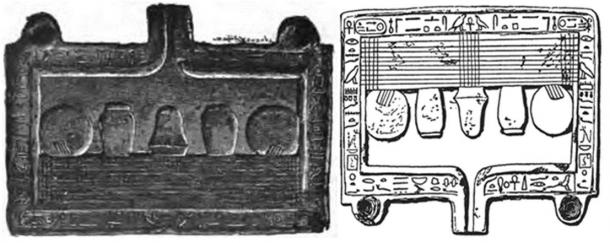 Left: Grey/black granite offering table originally of the 12th dynasty, later reused and dedicated to the god Seth by the king Aaqenenre (Apophis) during the 15th dynasty.