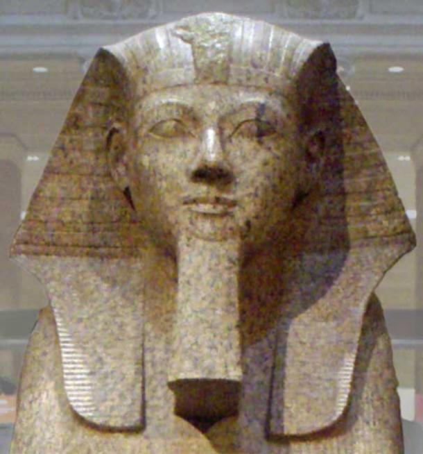 A large granite sphinx bearing the likeness of the female Pharaoh Hatshepsut. Dating to the joint reign of Hatshepsut and Thutmose III, circa 1479-1458 BC.