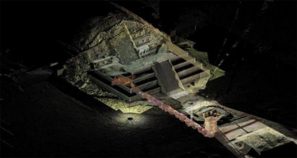 A graphic which shows the tunnel that may lead to a royal tombs discovered underneath the Quetzalcoatl temple in the ancient city of Teotihuacan. (INAH)